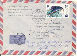 Poland Air Mail Cover Sent To Denmark Krakow 16-10-1979 With A Lot Of Stamps Also On The Backside Of The Cover - 1944-.... Republic