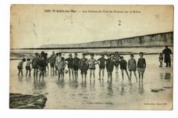 Saint Aubin Sur Mer - Les Colons De Ciel De France Sur La Grève (enfants Les Pieds Dans L'eau) Circulé 1924 - Francia