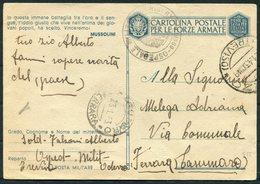 1943 Italy Cartolina Postale Per Le Forze Armate, Stationery Postcard. Post Militare Ospedale Hospital Oderzo Ferrara - Marcophilia