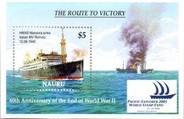 """(WK-Alb1) NAURU, Mi Block 40, """"WWII - 60 Jahre Kriegsende""""  ** Postfrisch - Nauru"""