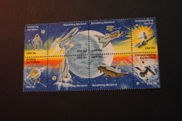 US United States 1919a Space Achievement Issue Moon Walk Shuttle Pioneer Skylab Telescope Block Of 8 MNH 1981 A04s - Blocs-feuillets