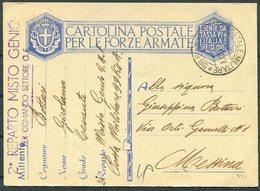 1941 Italy Cartolina Postale Per Le Forze Armate, Stationery Postcard. Post Militare 99 BIS, 2nd Rearto Misto Genio - Marcophilia