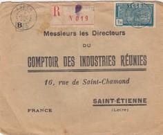 LETTRE. TOGO. 1929. RECOMMANDÉ ANECHO POUR ST ETIENNE N°148 SEUL SUR LETTRE   /   2 - Togo (1914-1960)