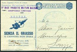 1942 Italy Artillery Cartolina Postale Per Le Forze Armate, Stationery Postcard. Post Militare, Senza Il Grasso - Marcophilia