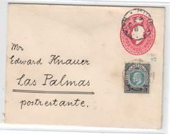 NATAL 1906 , Ganzsachenumschlag Nach Las Palmas , Poste Restante - Grossbritannien (alte Kolonien Und Herrschaften)