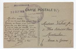 """1918 - CP FM Avec CACHET MILITAIRE """"COMPAGNIE CYCLISTE / SURVEILLANCE DE LA FRONTIERE FRANCO SUISSE"""" + CACHET ANNEMASSE - Marcophilie (Lettres)"""