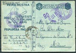 1942 Italy Roma Primavera Cartolina Postale Per Le Forze Armate, Stationery Postcard. Post Militare 23 - Milano - Marcophilia