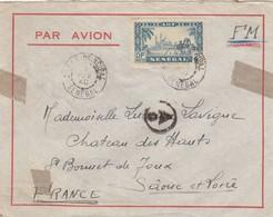 LETTRE. SENEGAL. 1940. DAKAR POUR ST BONNET-DE-JOUX QAONE-ET-LOIRE. N°182 SEUL SUR LETTRE . CONTROLE CENSURE /   2 - Sénégal (1887-1944)