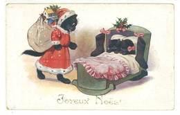 Cpa Joyeux Noël , Chat Noir Père Noël , Chatons Dans Lit  ( FA ) - Kerstman