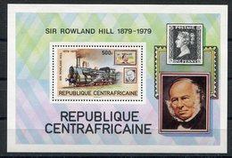RC 14790 REP CENTRAFRICAINE SIR ROWLAND HILL ET LOCOMOTIVE TRAIN BLOC FEUILLET NEUF ** MNH TB - Zentralafrik. Republik