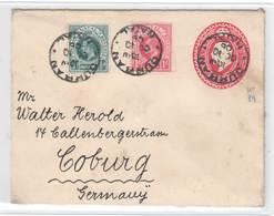 NATAL 1906 , Ganzsachenumschlag Von Durban Nach Coburg - Grossbritannien (alte Kolonien Und Herrschaften)