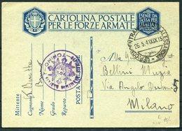 1941 Italy Cartolina Postale Per Le Forze Armate, Stationery Postcard. Concentramento Post Militare Alessandria. Torino - Marcophilia
