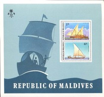 Black19-005 MINT ¤ MALDIVES 1978 BLOCK ¤ VOILIERS - ZEILSCHEPEN - SHIPS - - Maritiem