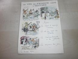 Ancien Menu 1962 LE VIN DE FRANCE DANS L'HISTOIRE - Menus