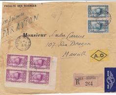 ALGERIE  :   Constantine En Bloc De 4 Et Paire Sur Devant De Lettre Recommandée De 1942 - Algerien (1924-1962)
