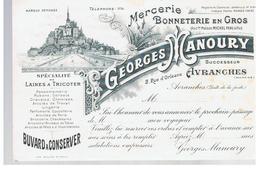 Buvard Mercerie Bonneterie En Gros Georges Manoury 2, Rue D'Orléans à Avranches (Manche) - Textilos & Vestidos