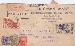 LETTRE. 1947. DAHOMEY. PAR AVION. COTONOU AOF POUR LYON. 11Fr. TAXE GERBE 34 Fr   /   2 - Lettres Taxées