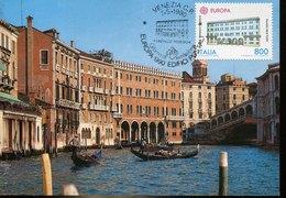 49567 Italia, Maximum 1990 Venezia, Fondaco Tedeschi,  Architecture - Cartas Máxima