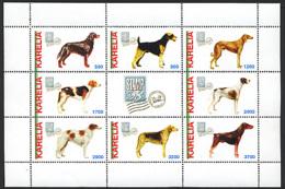 CARELIE KARELIA 1998, CHIENS / DOGS, Feuillet De 8 Valeurs, NEUFS / MINT. R1090 - Vignettes De Fantaisie