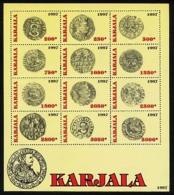 CARELIE KARELIA 1997, Monnaies Anciennes, Feuillet De 12 Valeurs, NEUFS / MINT. R1100 - Fantasy Labels