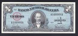 BILLETE DE CUBA DE 1 PESO  DEL AÑO 1960 SIN CIRCULAR (BANKNOTE) UNCIRCULATED - Cuba