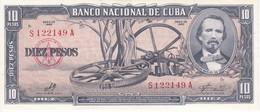 BILLETE DE CUBA DE 10 PESOS DEL AÑO 1960 SIN CIRCULAR (BANKNOTE) UNCIRCULATED - Cuba