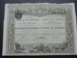 PORTUGAL - LISBOA 1882 - CIE ROYALE DES CHEMINS DE FER PORTUGAIS - CERTIFICAT DE FONDATEUR - BELLE ILLUSTRATION - Azioni & Titoli