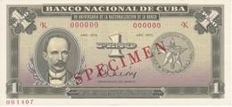 ESPECIMEN BILLETE DE CUBA DE 1 PESO DEL AÑO 1975 DE JOSE MARTI (SPECIMEN) (BANKNOTE) SIN CIRCULAR-UNCIRCULATED - Cuba