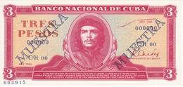 MUESTRA BILLETE DE CUBA DE 3 PESOS DEL AÑO 1983 DEL CHE GUEVARA (SPECIMEN)(BANKNOTE) SIN CIRCULAR-UNCIRCULATED - Cuba