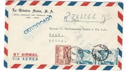 COVER CORREO AEREO PEROU - LIMA - BALE - SUIZA.- CERTIFICADO - 1950 - Pérou