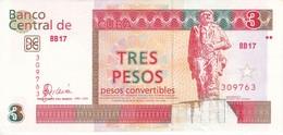 BILLETE DE CUBA DE 3 PESOS CONVERTIBLE DEL AÑO 2006 EN CALIDAD EBC (XF)  (BANKNOTE) - Cuba