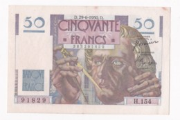 Billet 50 Francs Le Verrier Du 29 – 6 – 1950. Alph. H.154 N° 91829 , Superbe. - 1871-1952 Antiguos Francos Circulantes En El XX Siglo