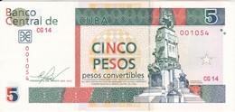 BILLETE DE CUBA DE 5 PESOS CONVERTIBLE DEL AÑO 2012 SIN CIRCULAR  (BANKNOTE) UNCIRCULATED - Cuba