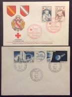309-1 Croix-Rouge Renoir 1466 1467 Satellite 1465a  FDC Premier Jour Lot 2 Lettre Enveloppe - FDC