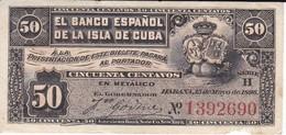 BILLETE DEL BANCO ESPAÑOL EN CUBA DE 50 CENTAVOS DEL AÑO 1896  (BANKNOTE) - Cuba