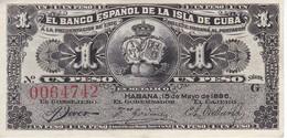 BILLETE DEL BANCO ESPAÑOL EN CUBA DE 1 PESO DEL AÑO 1896 EN CALIDAD EBC (XF)  (BANKNOTE) - Cuba