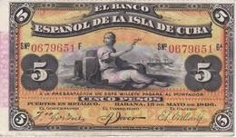 BILLETE DEL BANCO ESPAÑOL EN CUBA DE 5 PESOS DEL AÑO 1896 EN CALIDAD EBC (XF)  (BANKNOTE) - Cuba