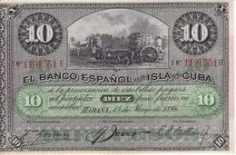 BILLETE DEL BANCO ESPAÑOL EN CUBA DE 10 PESOS DEL AÑO 1896 SIN CIRCULAR-UNCIRCULATED (BANKNOTE) - Cuba