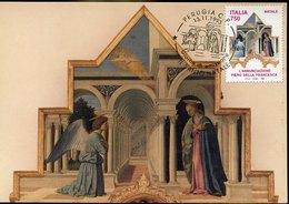49592 Italia, Maximum 1993, Painting Of Piero Della Francesca,annunciation,polittico Di S.antonio,Verkündigung - Cartes-Maximum (CM)