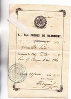 27 - GISORS - FRANC-MACONNERIE - LOGE Des FRERES De BLANMONT Avec Cachet De La Loge - Reçu Pour Banquet 1860 - RARE - - Unclassified
