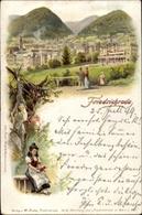 Lithographie Friedrichroda Im Thüringer Wald, Totalansicht Des Ortes, Thüringer Tracht - Deutschland