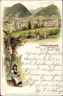 Lithographie Friedrichroda Im Thüringer Wald, Totalansicht Des Ortes, Thüringer Tracht - Germany