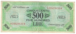 Italy 500 AM Lire 1943A - [ 3] Emissioni Militari