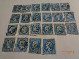 Lot N°55 :20 Timbres Napoléon III , Empire Franc ,dentelé ,20 C Bleu ,n°22 - 1862 Napoléon III