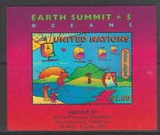 "BLOC NEUF DES NATIONS UNIES N. Y. - SOMMET PLANETE TERRE + 5 : LES OCEANS, SURCHARGE ""PACIFIC 97"" N° Y&T 15 - Milieubescherming & Klimaat"