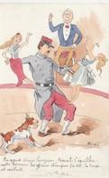 CPA Peinte à La Main Caricature Satirique Politique Affaires Etrangères Cirque Circus Cirk Illustrateur BOBB (2 Scans) - Zirkus