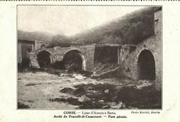 CORSE - Chemin De Fer Ajaccio/Bastia - L'Arrêt De PRUNELLI Di CASACCONI (CASTAGNICCIA) Au Vieux Pont Gênois à 3 Arches - France