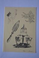 Signee Alain Barré-fontaine A Absinthe-cuillere-plante-theme Absinthe-faisant Office De Carte Double--voir Scans - Illustrators & Photographers