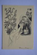 Signee Alain Barré-carafe-verre A Absinthe-plante-elegante-theme Absinthe-faisant Office De Carte Double--voir Scans - Illustrators & Photographers