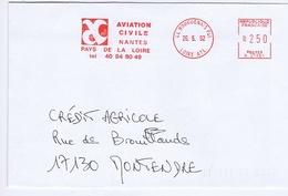 LOIRE-ATLANTIQUE - Flamme Rouge Illustrée à Gauche BOUGUENAIS Pal Du 26. 5. 92 - Aviation Civile - Postmark Collection (Covers)